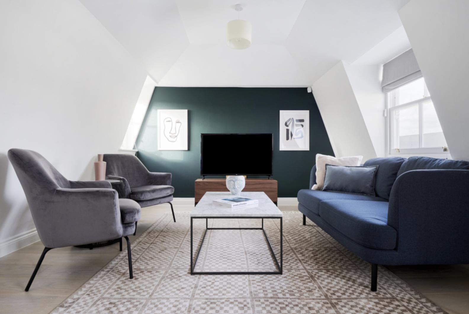 Living area at Kensington Townhouse, Bayswater, London