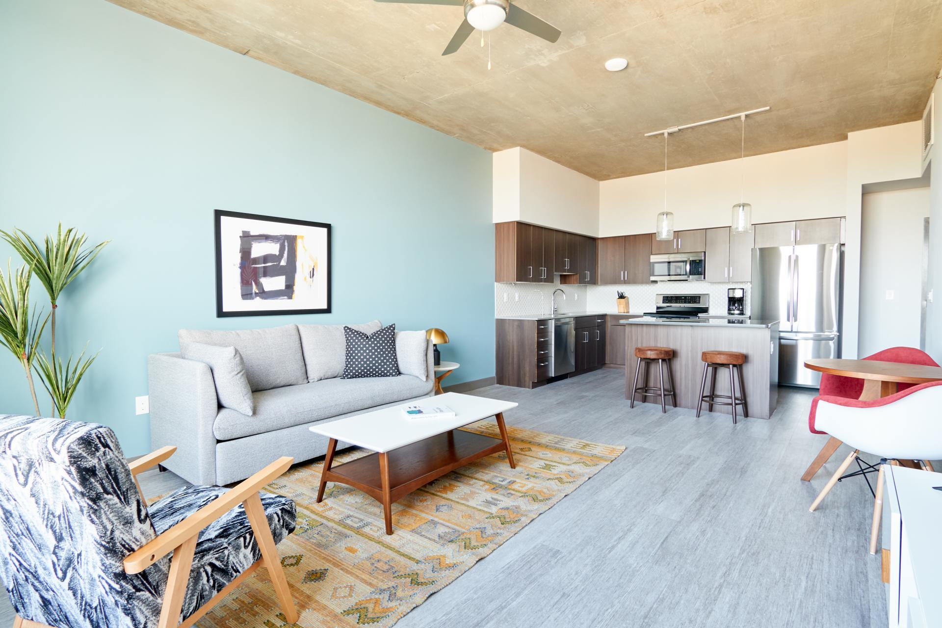 Living area at McKinley Apartments, Center, Phoenix