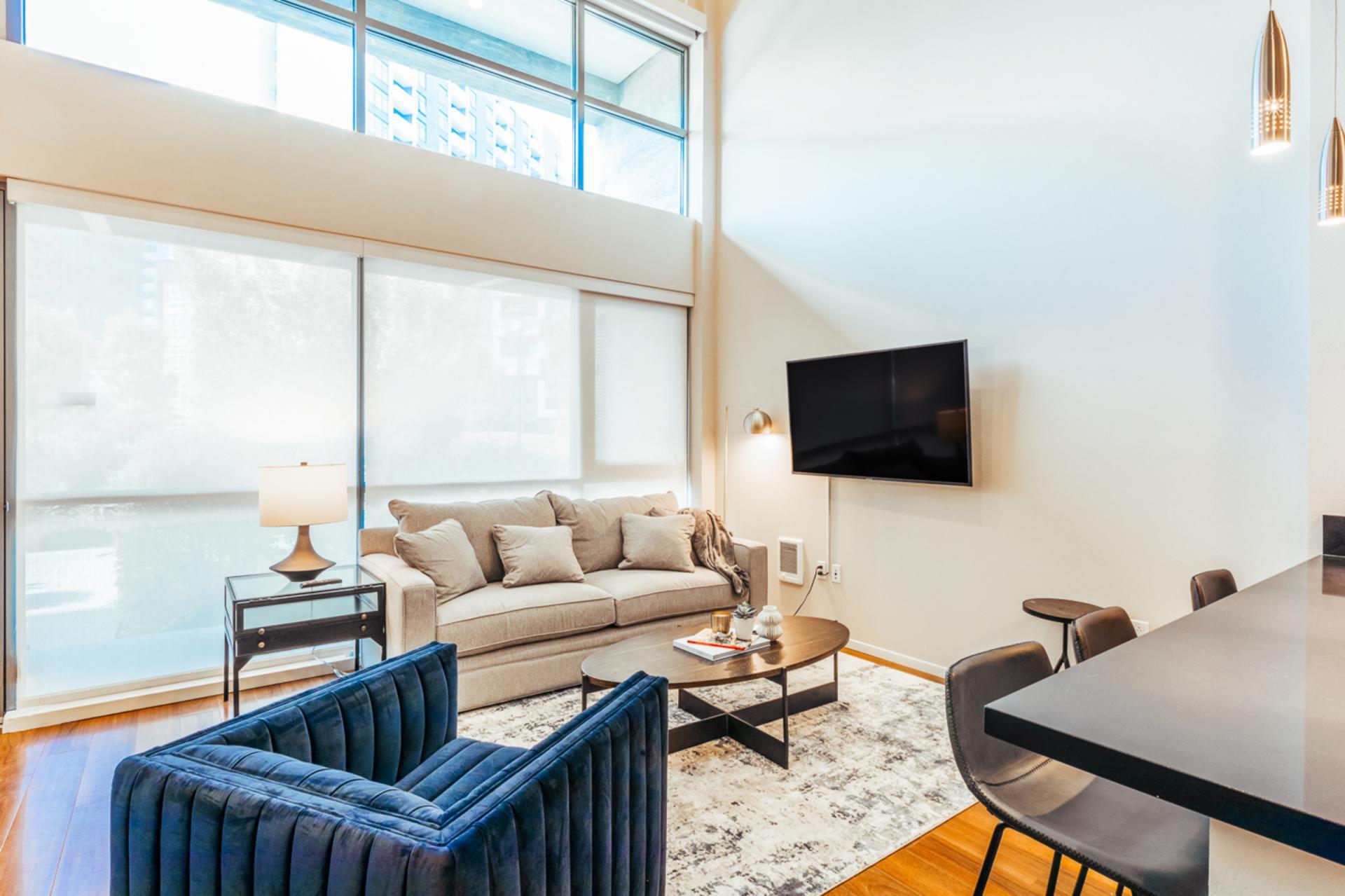 Living area at Landing Furnished Apartments at MB360, Mission Bay, San Francisco