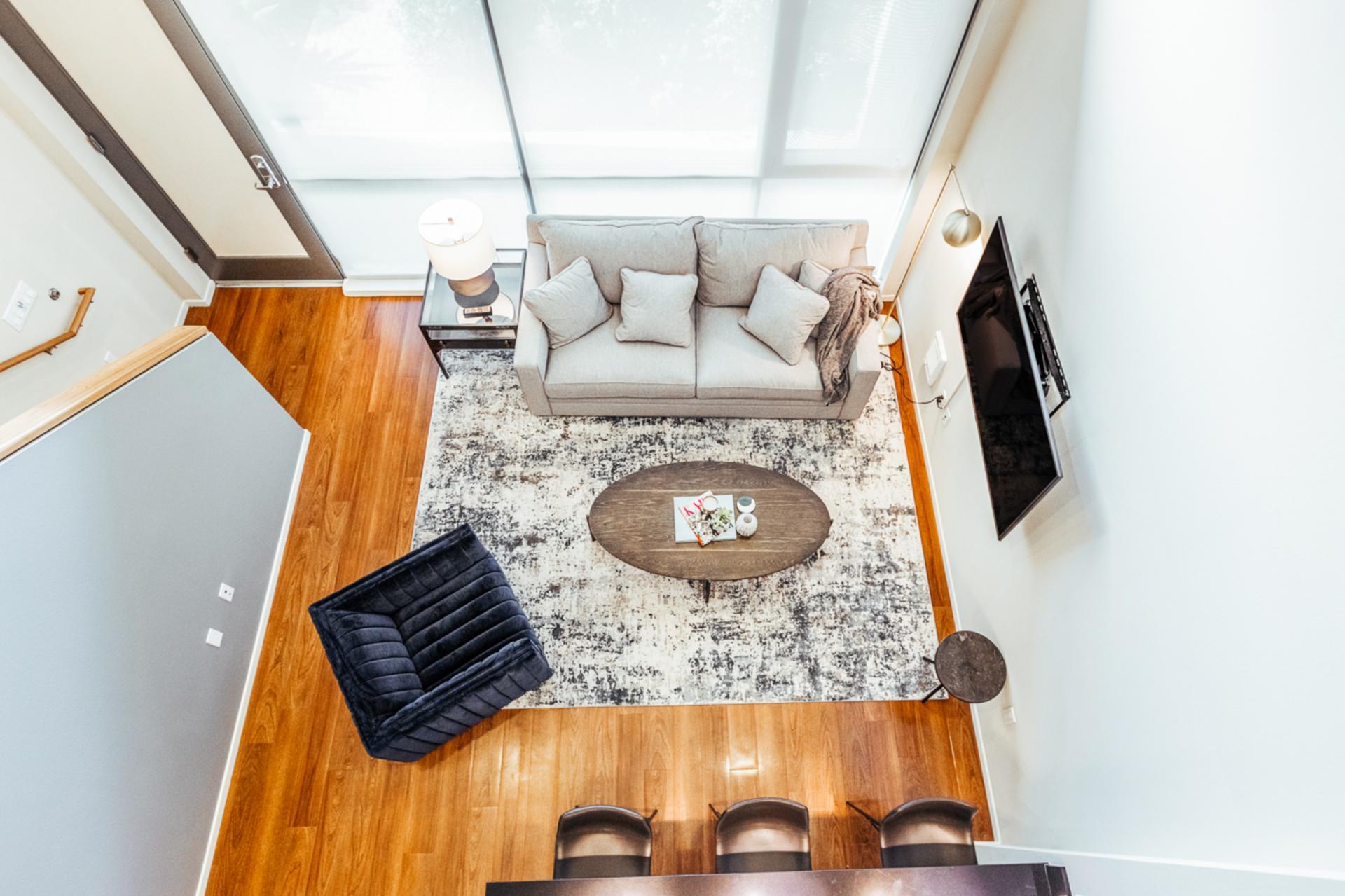 Sofa at Landing Furnished Apartments at MB360, Mission Bay, San Francisco