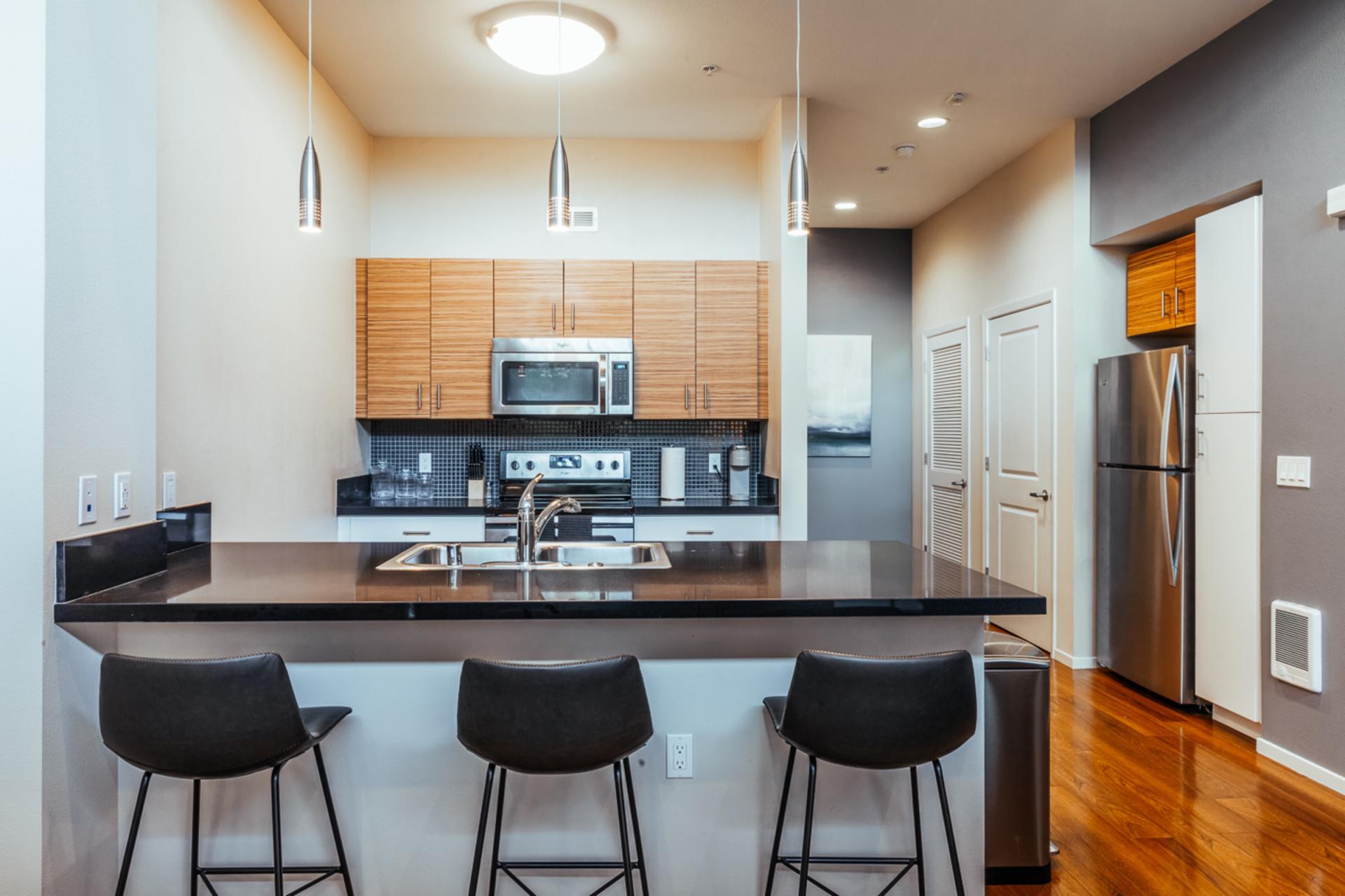 Kitchen at Landing Furnished Apartments at MB360, Mission Bay, San Francisco