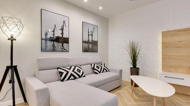 Living area at Old Nova Apartments, Srodmiescie, Gdansk