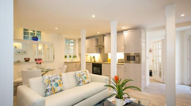 Living area at The Stables Apartment, Ballsbridge, Dublin