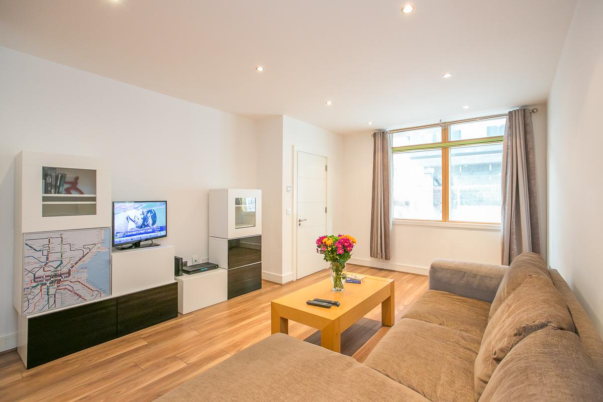 Spacious living area at Hanover Waterfront Apartment, Stella Gardens, Dublin