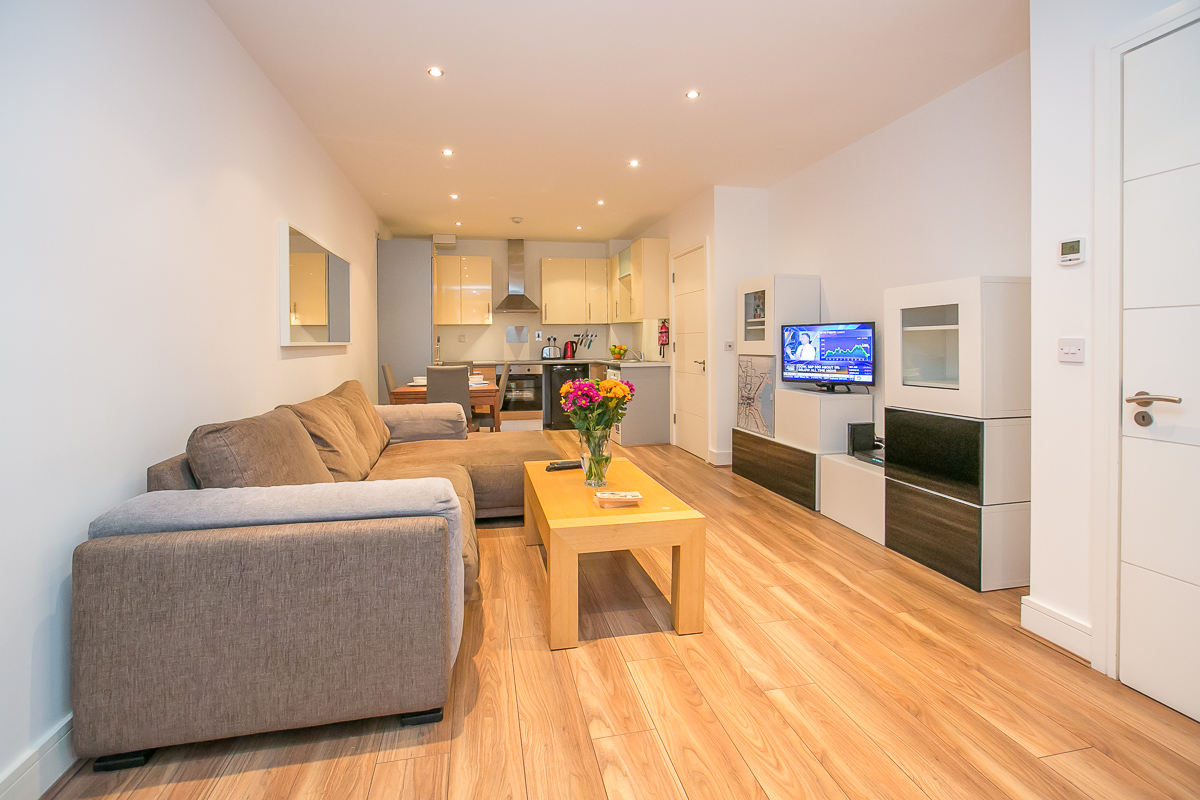 Open plan at Hanover Waterfront Apartment, Stella Gardens, Dublin