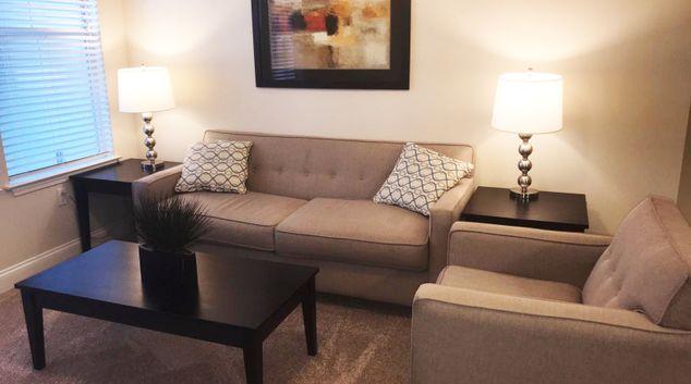 Living area at Lake Nona Water Mark Apartment, Lake Nona Region, Orlando