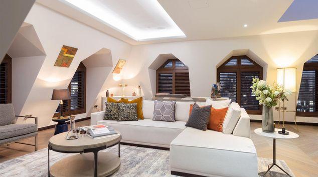 Living area at London Golden Square Apartments, Soho, London