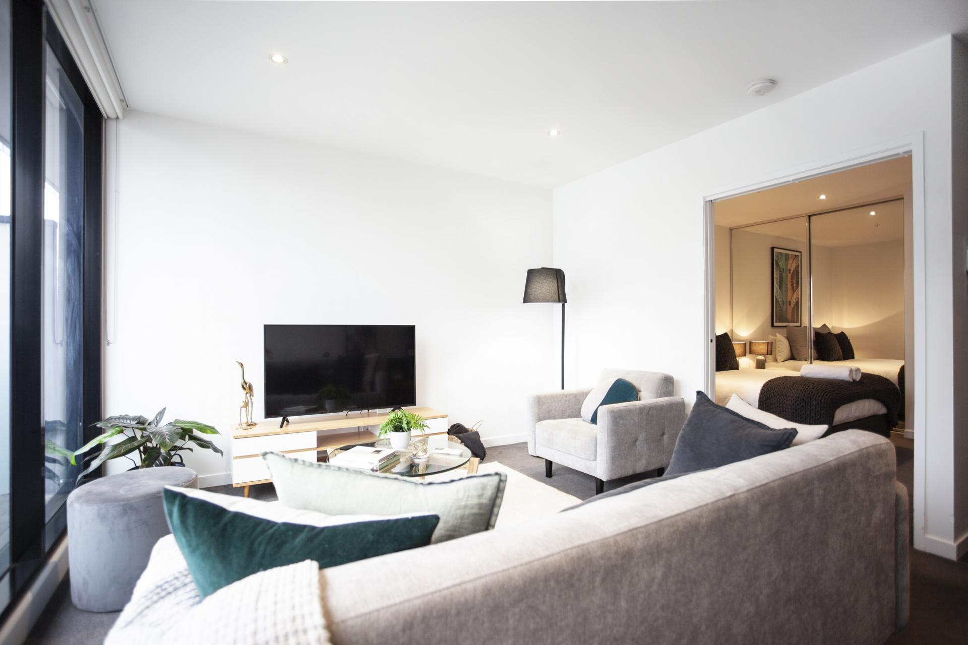 Spacious living area at The Bella Apartments, South Melbourne, Melbourne