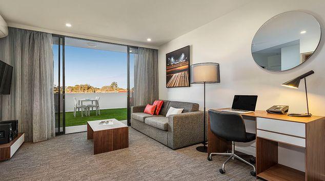 Living area at Quest Woolloongabba, Woolloongabba, Brisbane