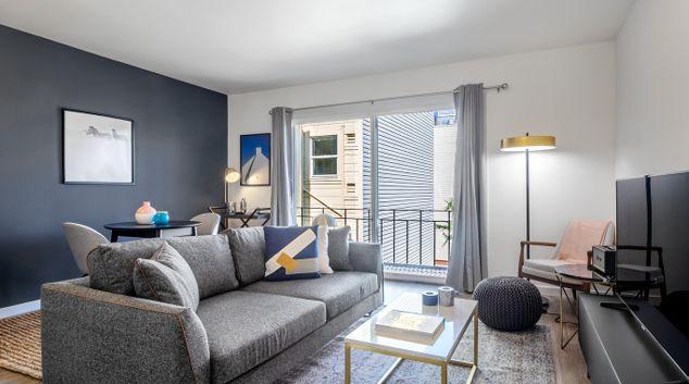 Living area at Octavia Street Apartments, Hayes Valley, San Francisco