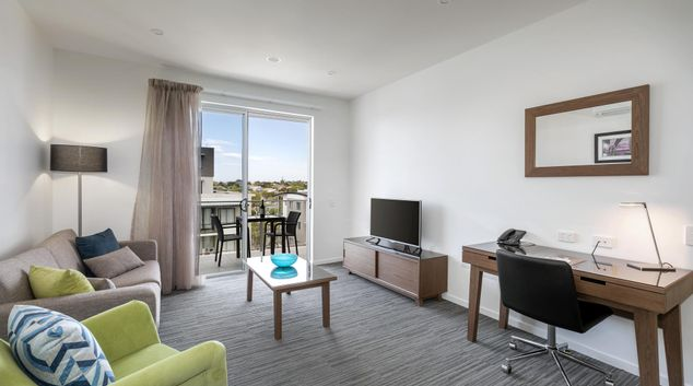 Living area at Quest Chermside on Playfield Apartments, Chermside, Brisbane