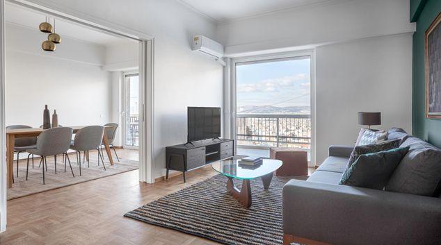 Living area at Statha II Apartment, Neapoli, Athens