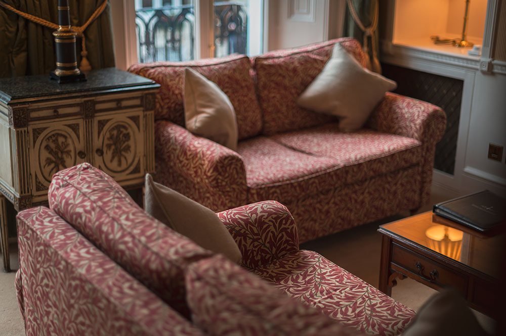 Sofas at 10 Curzon Street Apartments, Mayfair, London