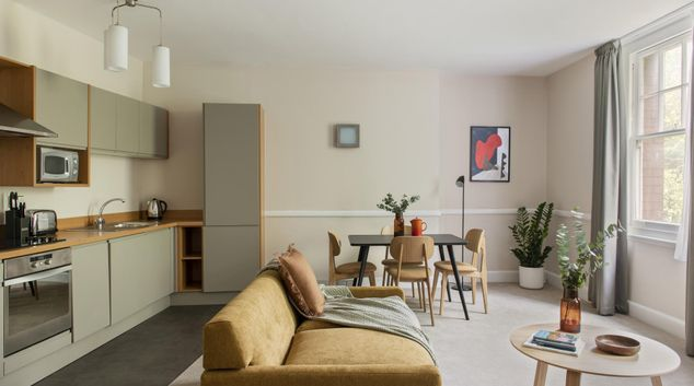 Living area at Cove West India House, Waterfront, Bristol