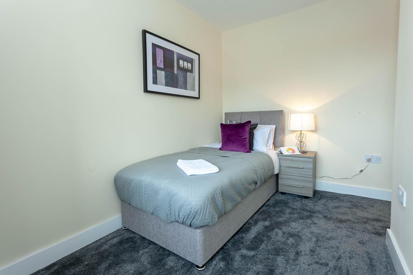 Single bed at St Marys House, Latchford, Warrington