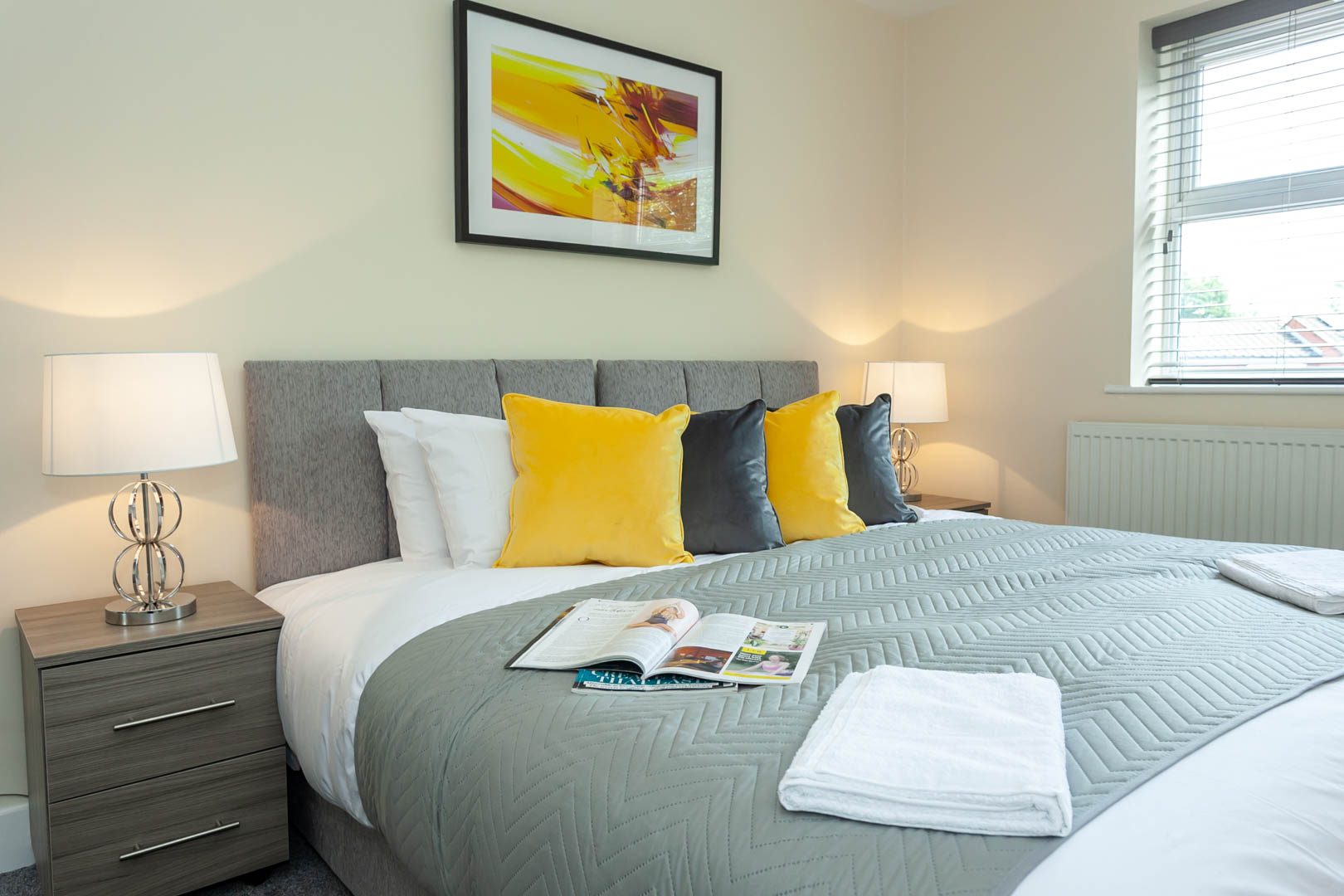 Bright bedroom at St Marys House, Latchford, Warrington