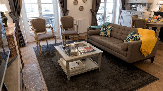Living area at Avenue Cler Apartment, Gros-Caillou, Paris