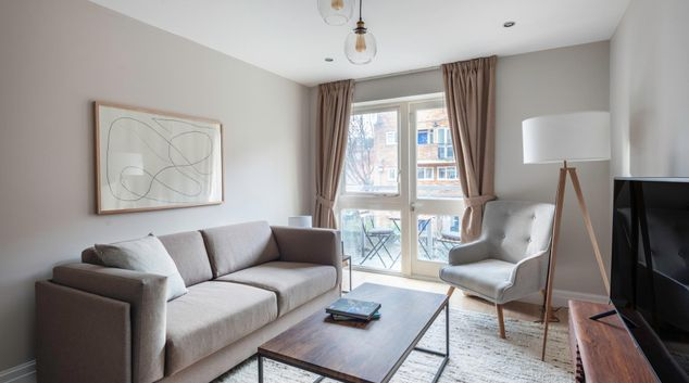 Living area at Hoxton Square Apartment, Hackney, London