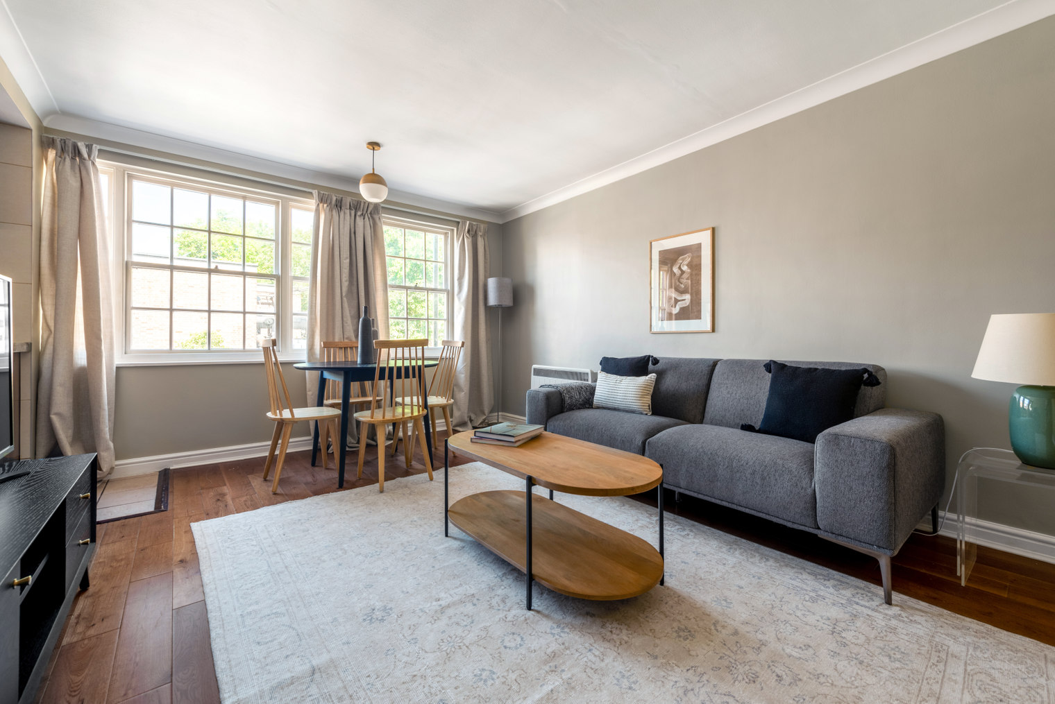 Living area at Moscow Road Apartment, Bayswater, London