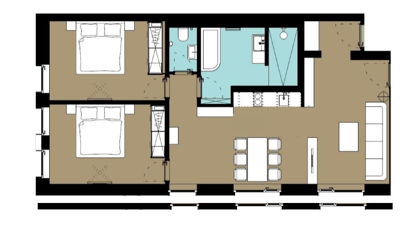 Floor plan at Hammerschmidt Apartment, Dornach, Munich