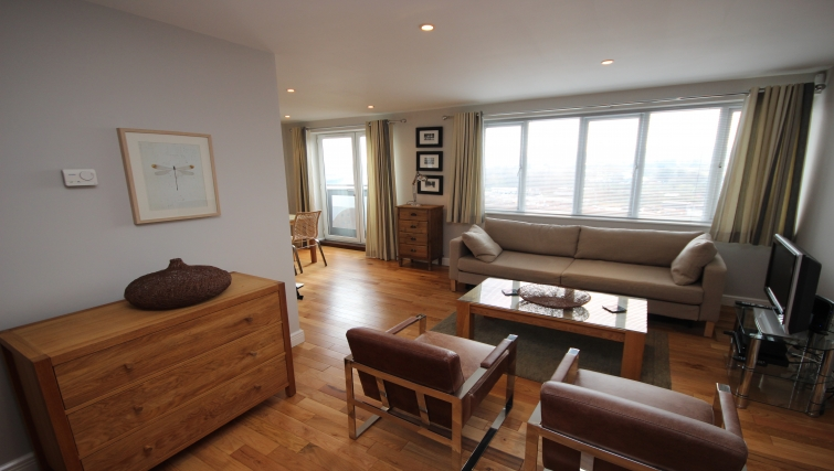 Inviting living room in High Quays Apartments