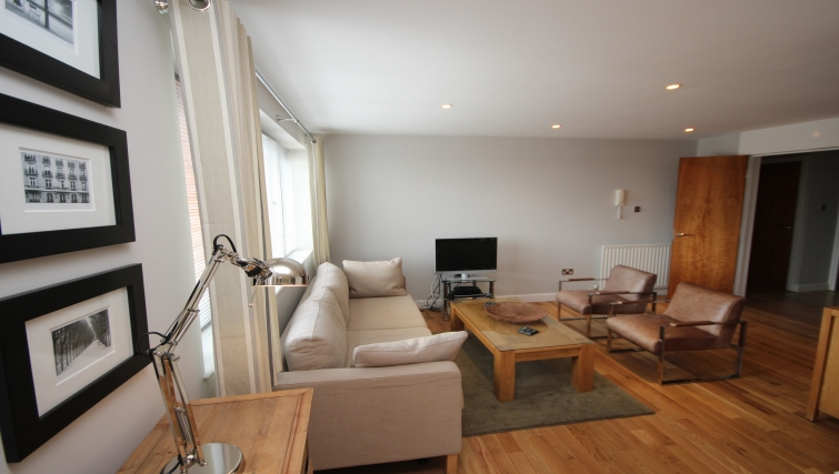 Living area in High Quays Apartments