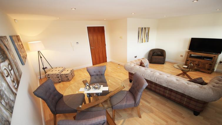 Living area/dining area at High Quays Apartments