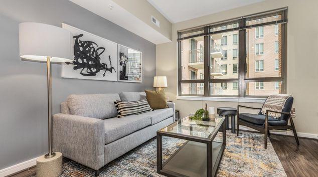 Living area at Landing Furnished Apartments at The Arcadia Metropolitan Park, Pentagon City, Arlington