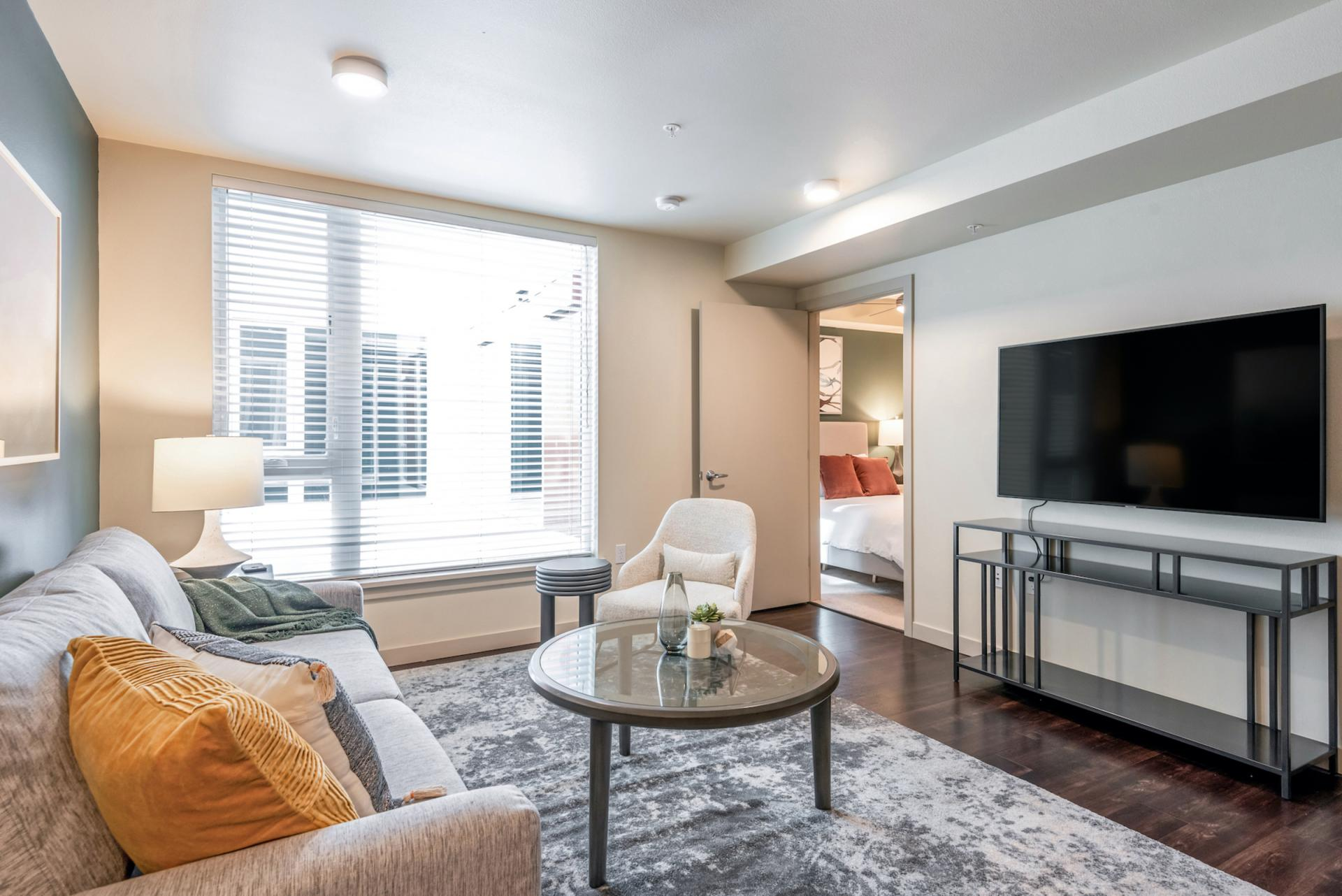 Open living at Landing Furnished Apartments at Infinity, Pike/Pine, Seattle