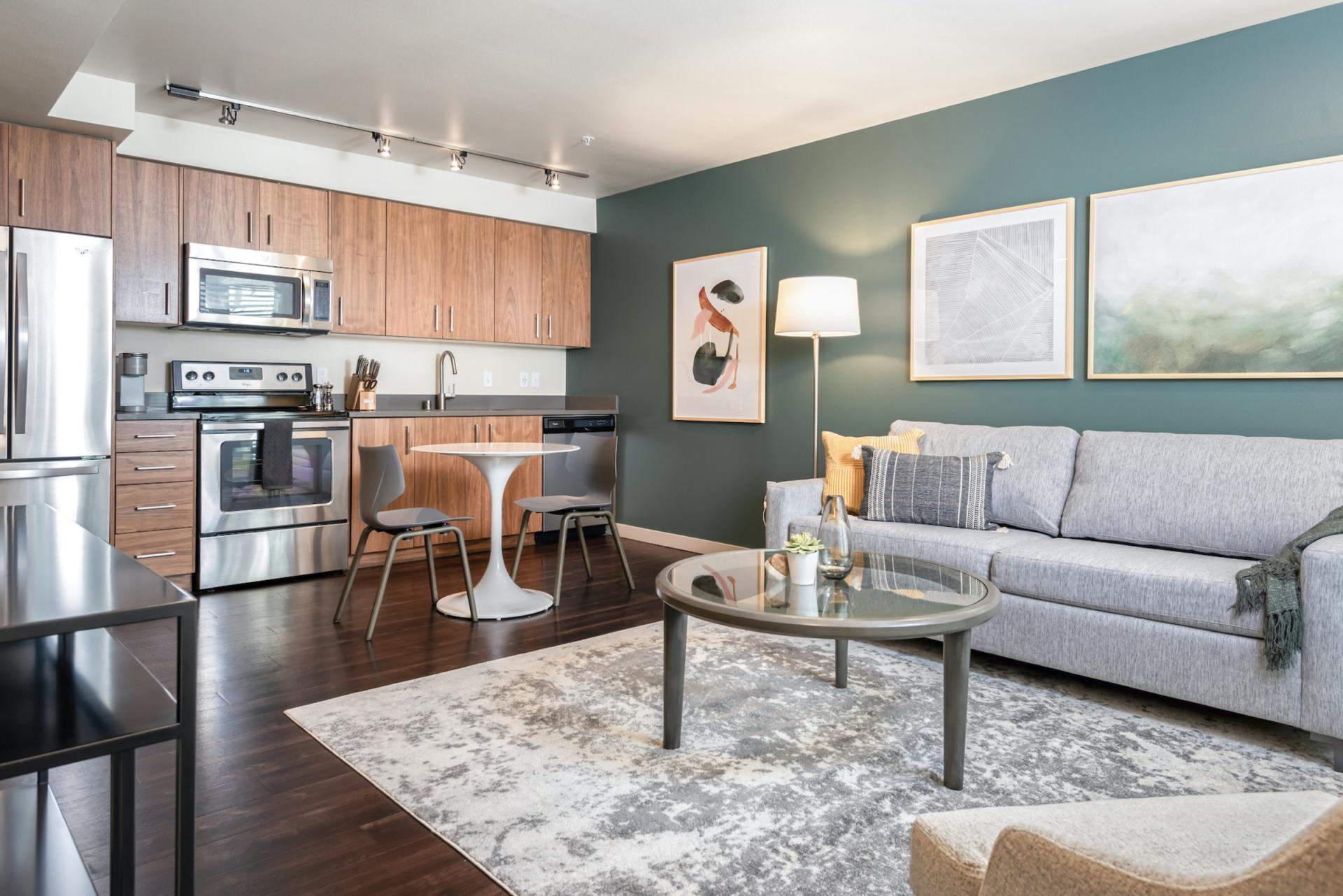 Spacious open living at Landing Furnished Apartments at Infinity, Pike/Pine, Seattle