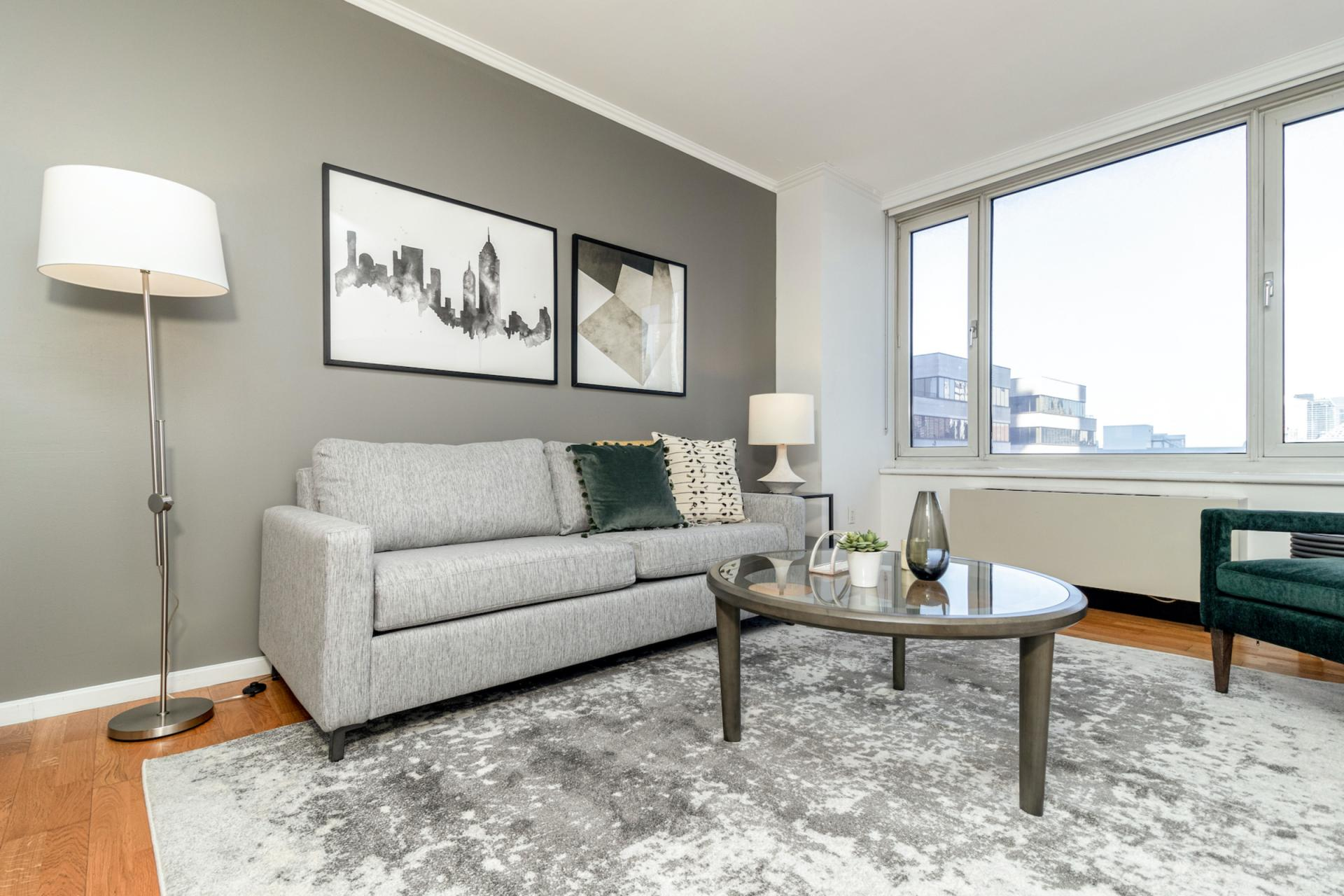 Living area at Apartments at Alexan 100, Belltown, Seattle