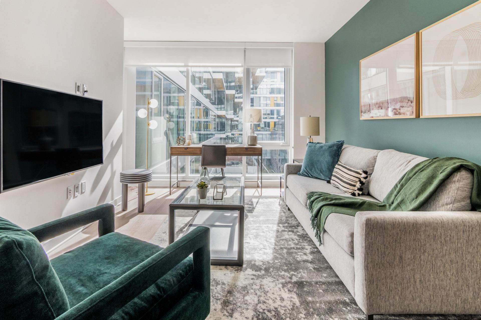 Living area at Apartment at 624 Yale, South Lake Union, Seattle