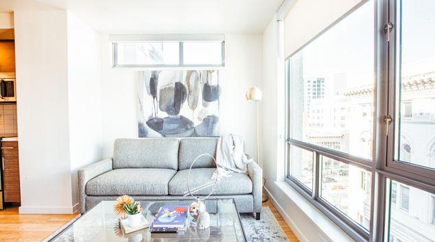 Living area at Apartments at Etta, Polk Gulch, San Francisco
