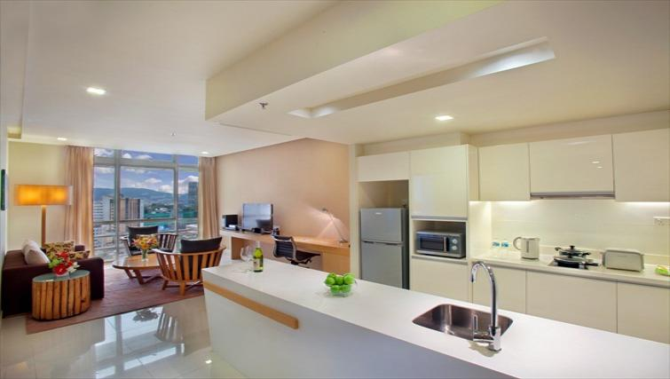 Modern kitchen at PARKROYAL Serviced Suites Kuala Lumpur