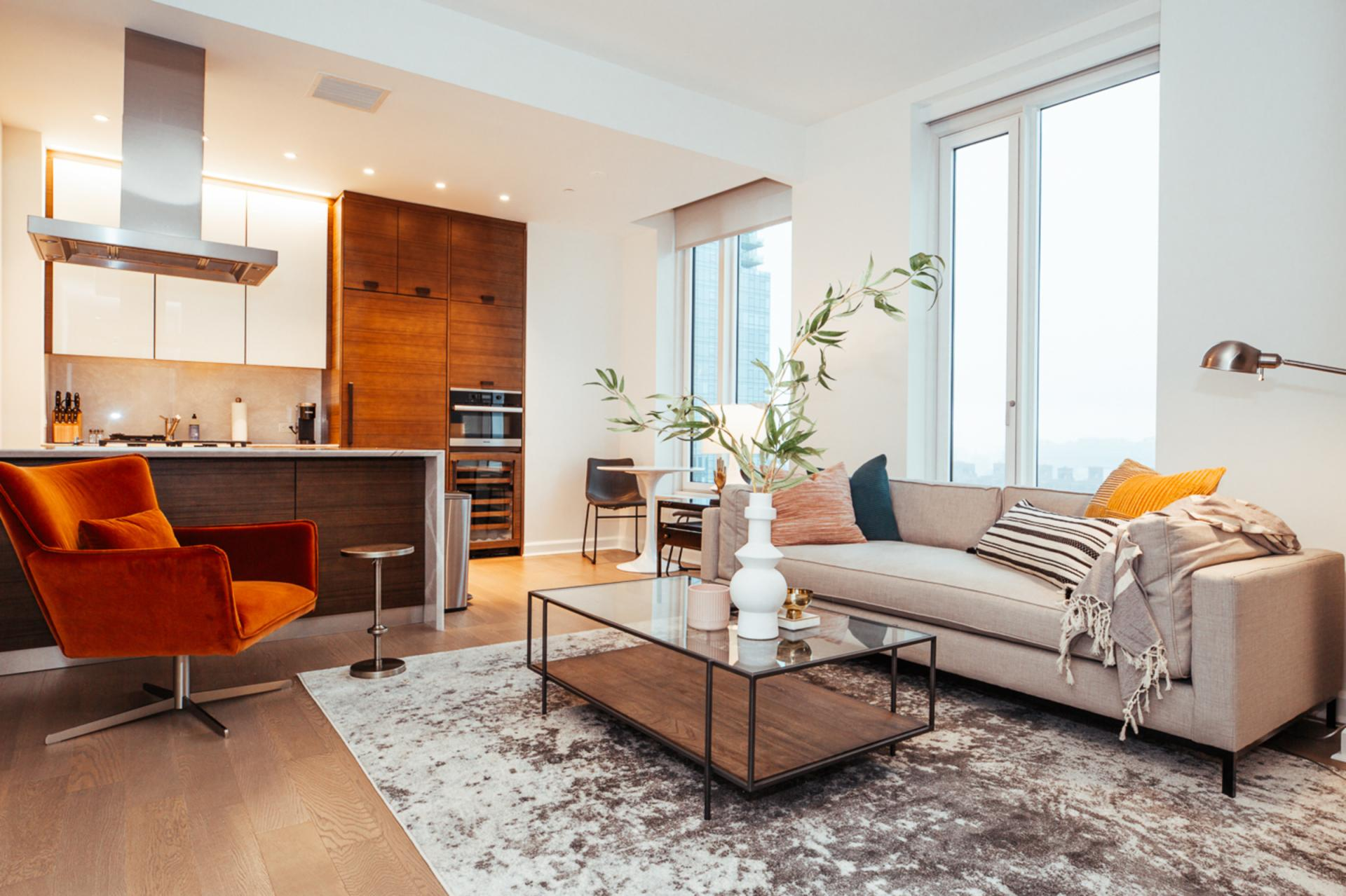 Living area at Landing Furnished Apartment One Hudson Yards, Hudson Yards, New York