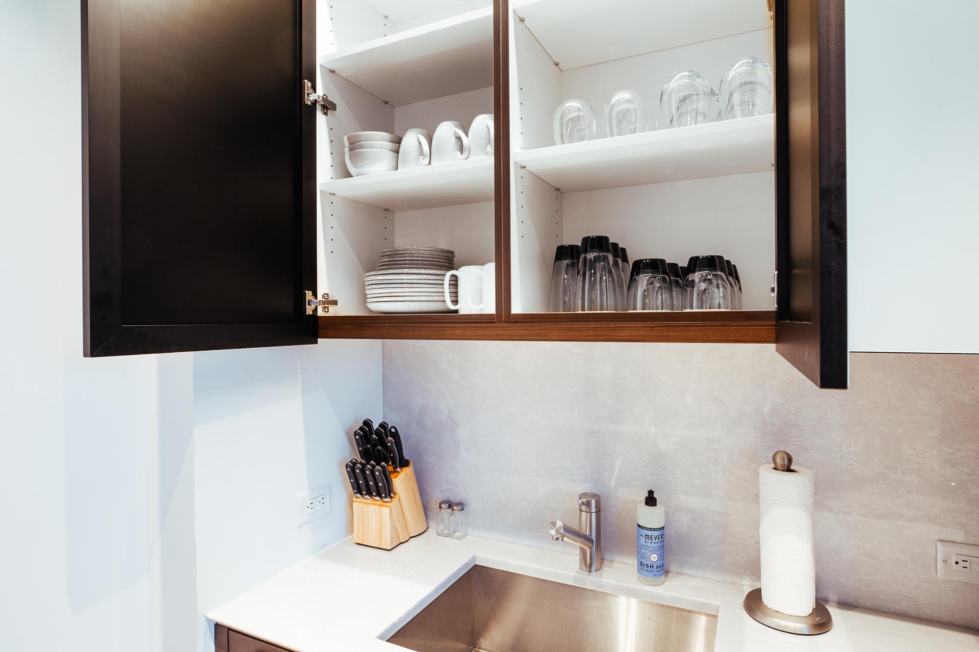 Cupboards at Landing Furnished Apartment One Hudson Yards, Hudson Yards, New York