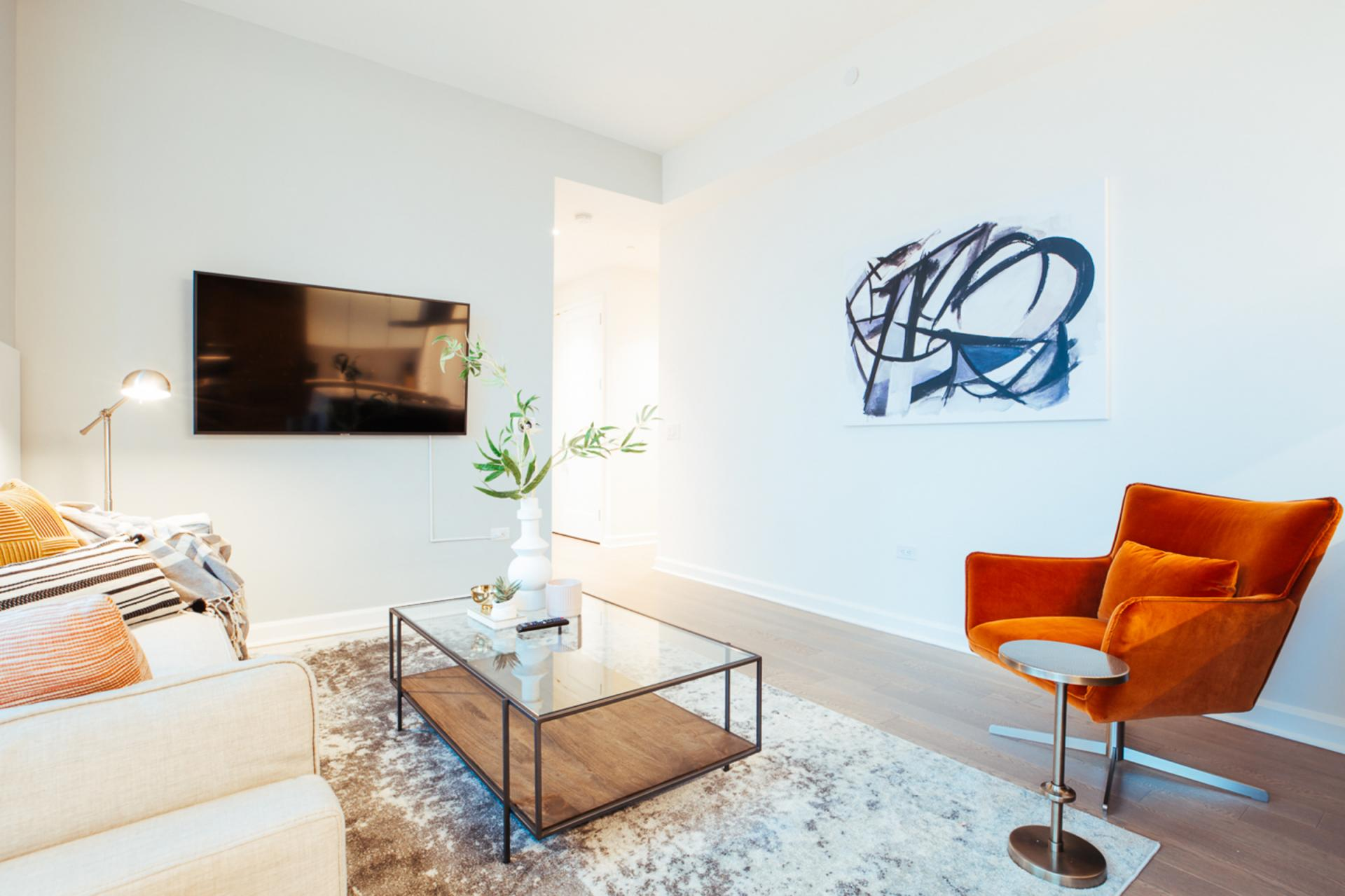 Cosy living space at Landing Furnished Apartment One Hudson Yards, Hudson Yards, New York