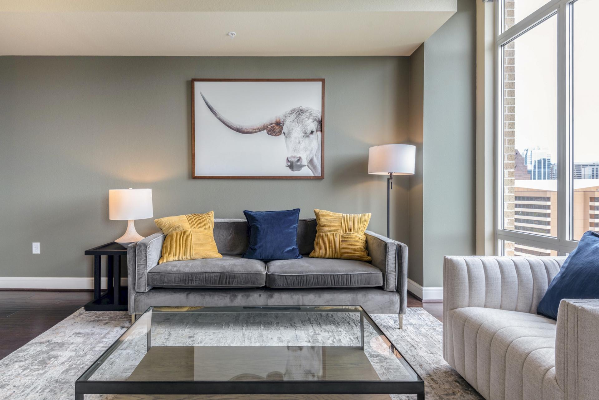 Living area at Apartments at The Crosby, Deep Ellum, Dallas