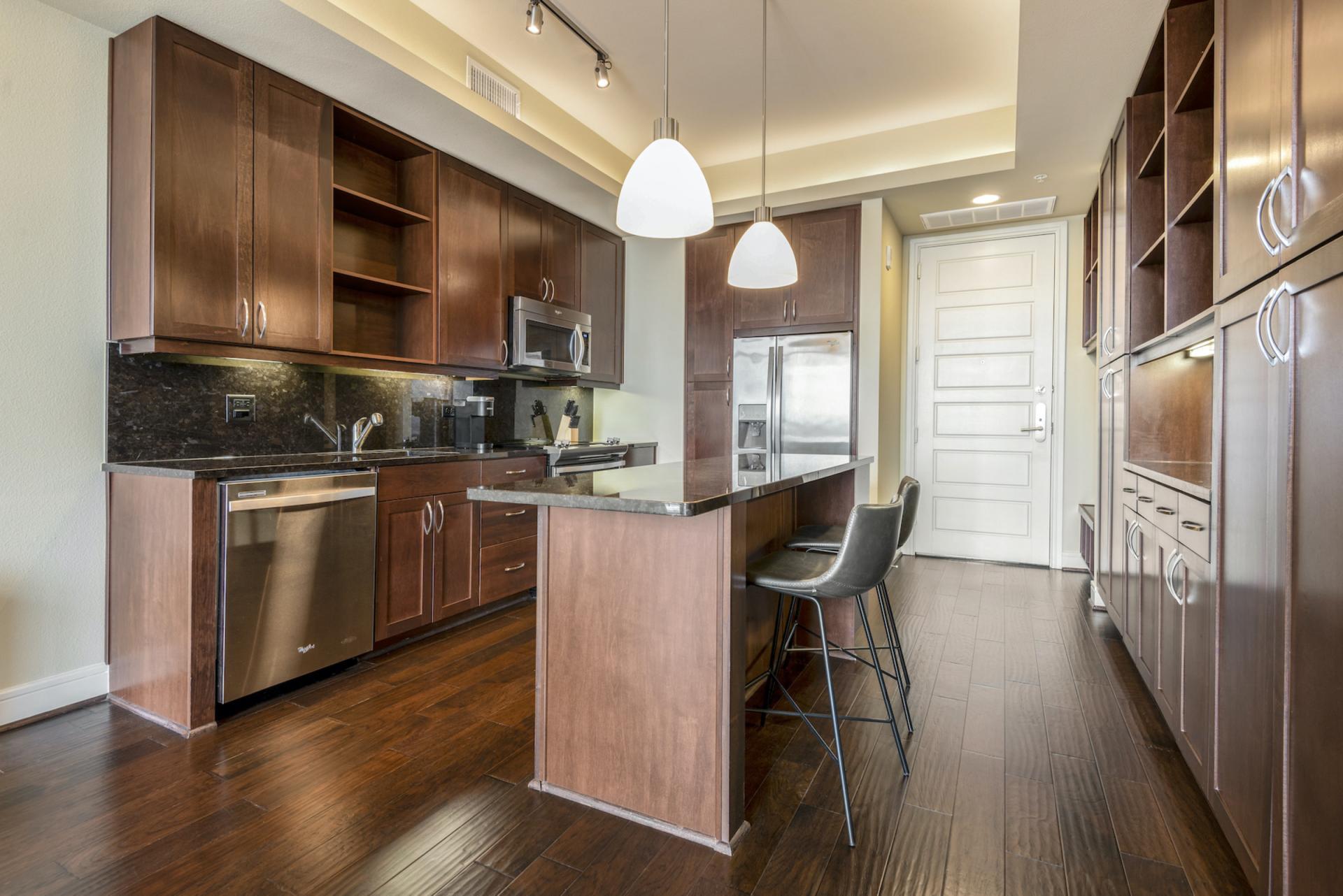 Kitchen at Apartments at The Crosby, Deep Ellum, Dallas