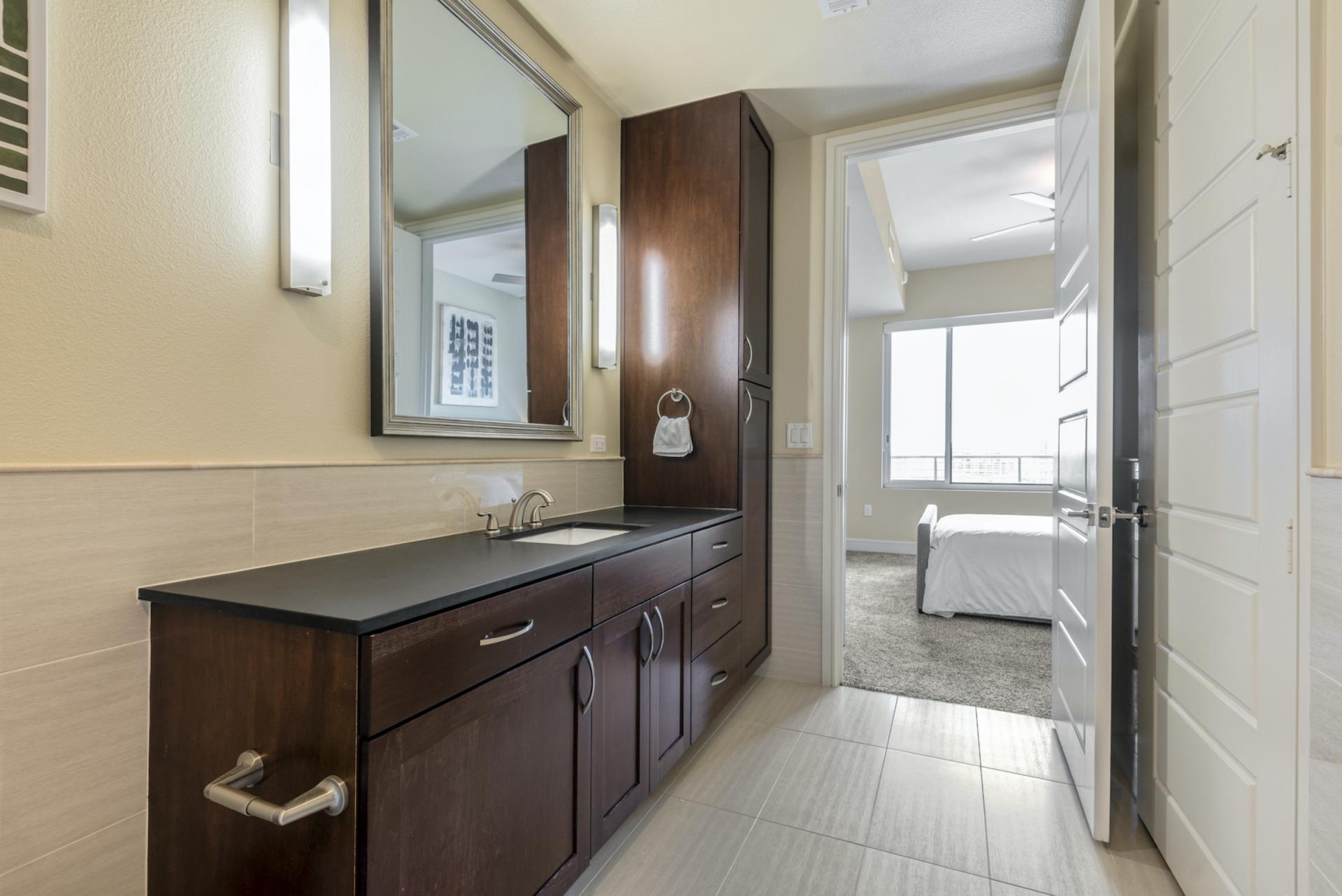 Bathroom at Apartments at The Crosby, Deep Ellum, Dallas