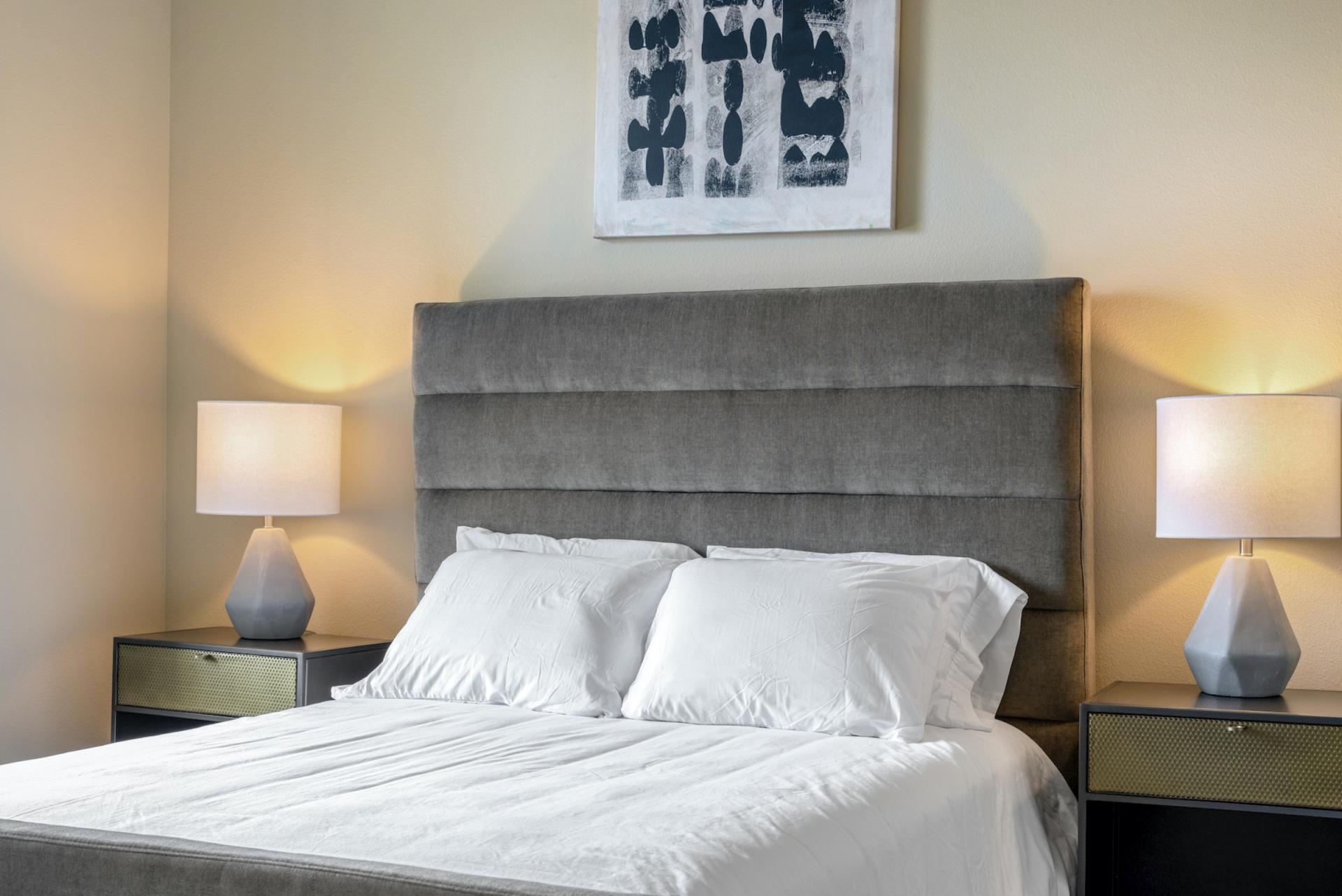 Bed at Apartments at The Crosby, Deep Ellum, Dallas