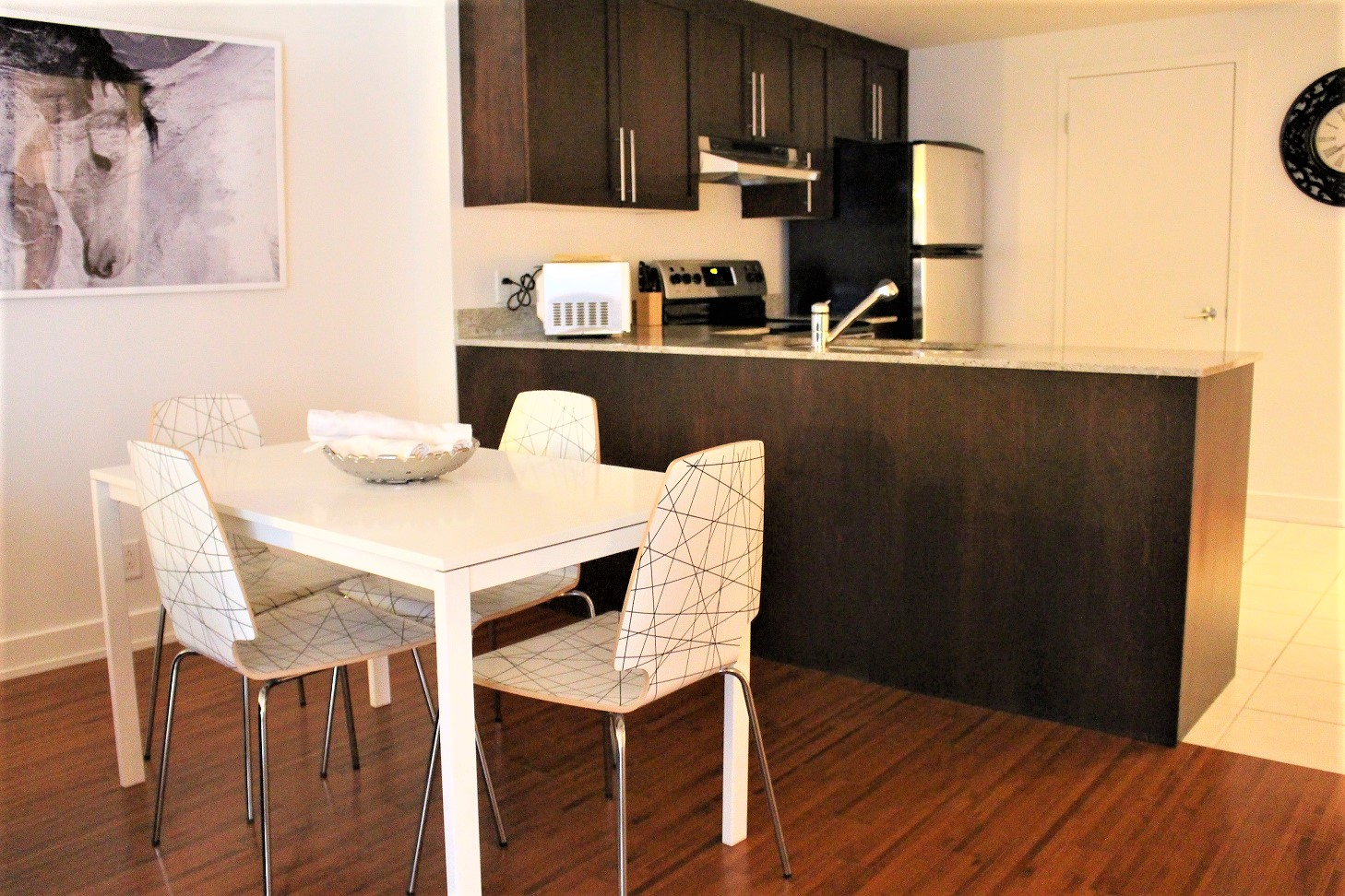 Kitchen diner at The Mosaique Apartments, Centre, Montreal