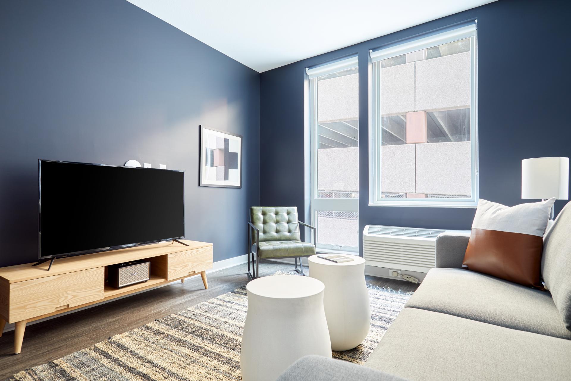 Living area at Luna Apartment, Cedar-Riverside, Minneapolis