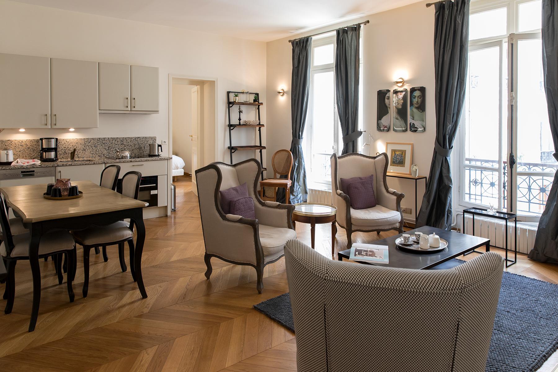Open plan living at Apartment Monceau Chic, 9th Arr, Paris