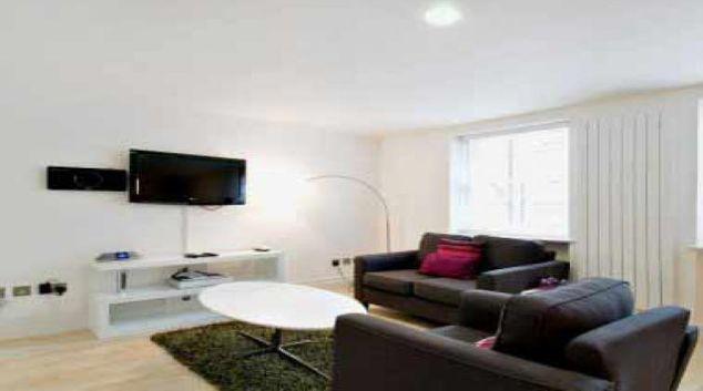 Modern living area in 38 James Street