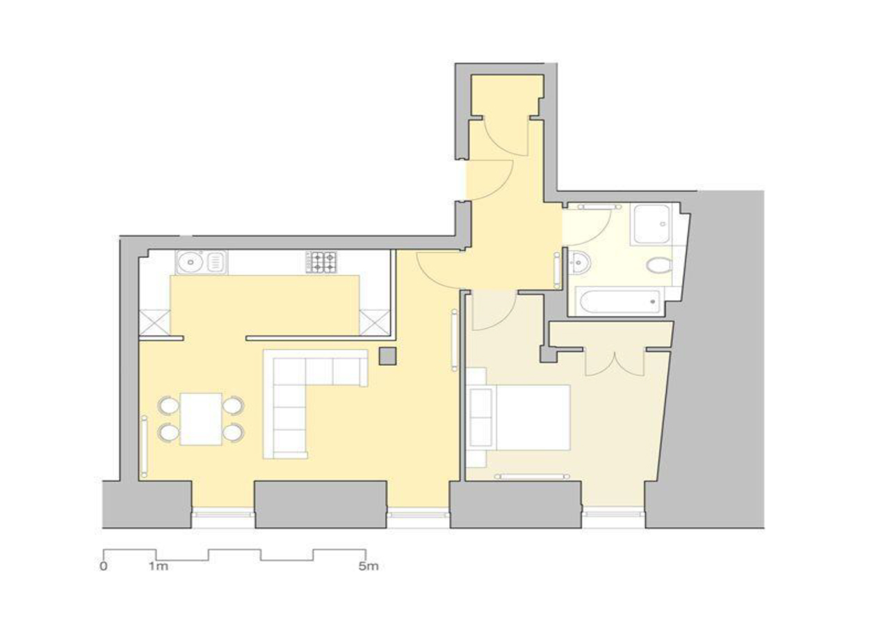 1 bed floor plan at Inverness High Street Apartments, Centre, Inverness