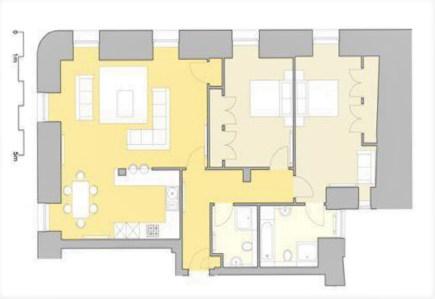 2 bed executive floor plan at Inverness High Street Apartments, Centre, Inverness