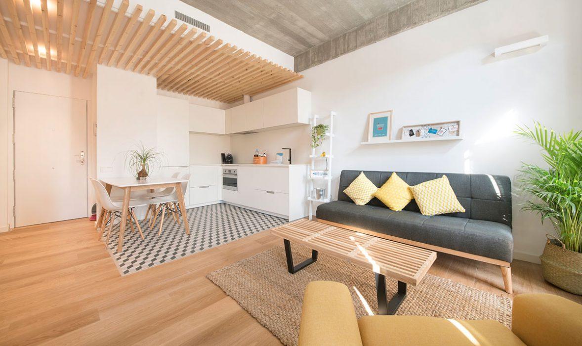Living area at Taulat Apartments, El Poblenou, Barcelona