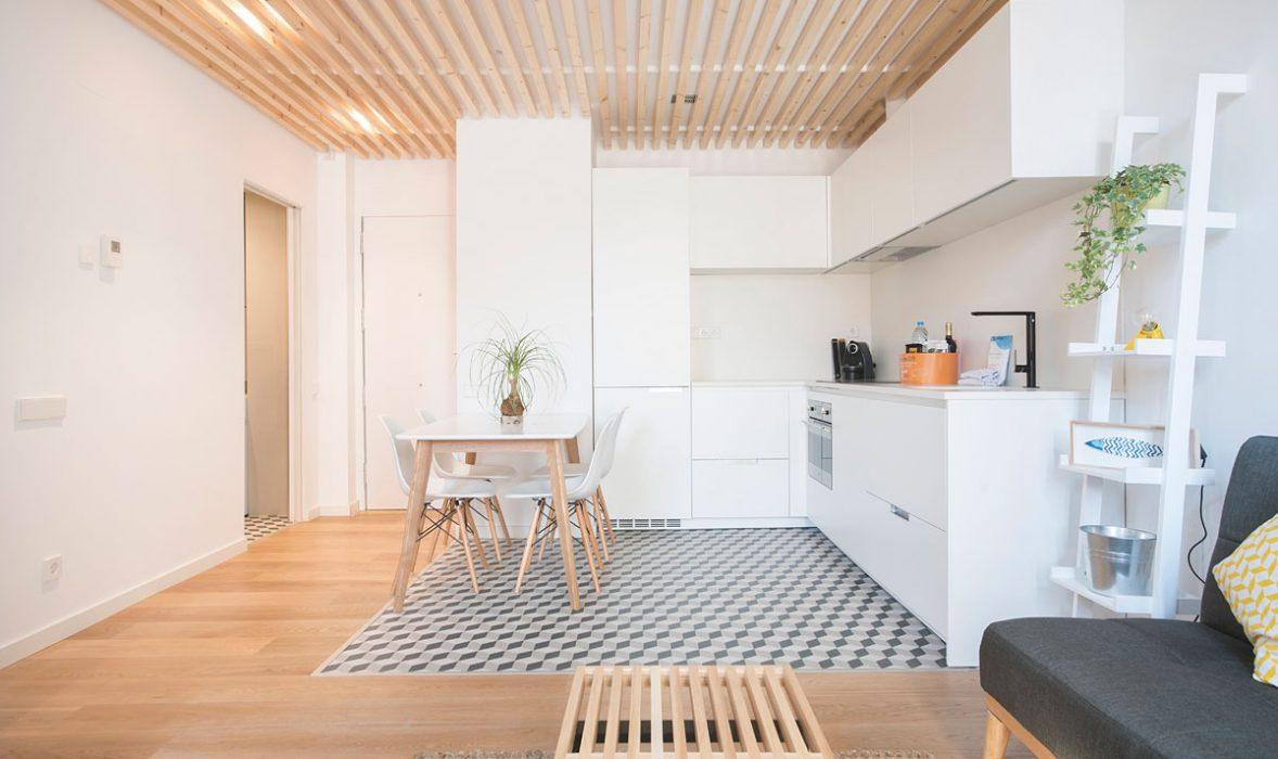 Kitchen at Taulat Apartments, El Poblenou, Barcelona