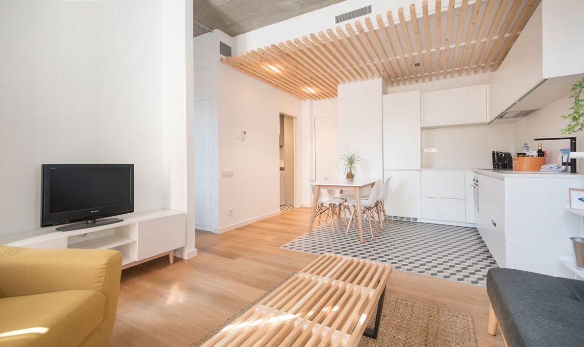Open plan living at Taulat Apartments, El Poblenou, Barcelona